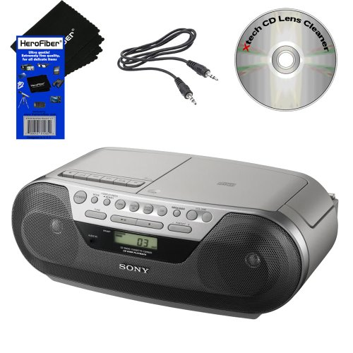 Sony Cd Cd-R/Rw Digital Radio Am/Fm Tuner Cassette Recorder Portable Boombox With Mega Bass, Synchronized Cd/Cassette Dubbing, Shuffle, Repeat, 20 Track Rms Programming, 30 Preset Radio Stations, Lcd Display, Stereo Mini Jack & Headphone Jack. Includes Au