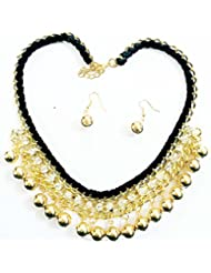 BID4DESIRE GOLDEN DROPS WITH STUD CZ NECKLACE WITH EARRINGS FOR WOMEN