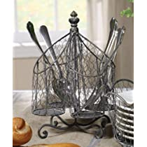 Shabby Cottage Chic Wire Cutlery Silverware Caddy