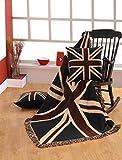 Homescapes handgewobener Überwurf Britische Flagge Union Jack 125 x 150 cm 100% reine Baumwolle - United Kingdom Jacquard Sofaüberwurf Sesselüberwurf Decke mit Fransen