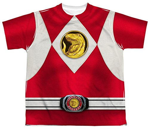 Mighty Morphin Power Rangers Red Ranger Emblem Costume - All Over Youth Front T-Shirt