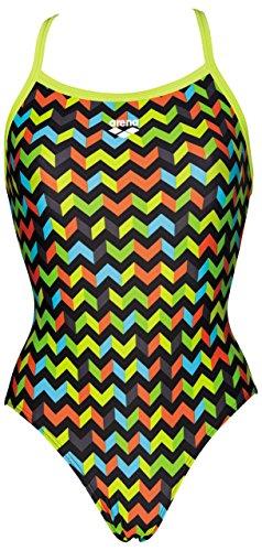 Arena-Costume intero da nuoto, da donna, motivo: ghirlanda, colore: nero/verde, 40 cm