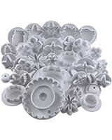 Ensemble de 32 ustensiles pour décoration de gâteau / emporte-pièces / tampons fleurs, feuilles et diverses formes par Curtzy TM