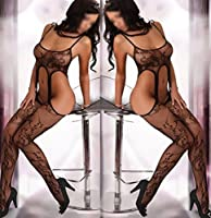Rozene Womens Sexy Open Crotch Corest fishnet bodystocking Bodysuit Tights Lingerie, Black, OSFM
