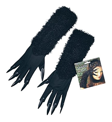 Long Fur Cat Gloves With Claws Fancy Dress Costume New