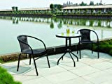 Culcita 3 Piece Black rattan Bistro set, Table and 2 Stacking Chairs #F00011