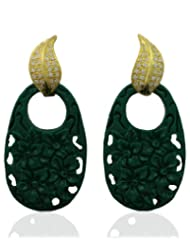 Aastha Jain Green Resin Carved Sterling Silver(18k Gold Polish) Earring For Women