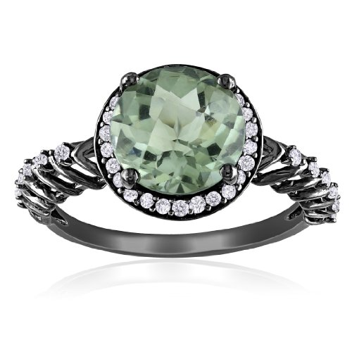Sterling Silver Green Amethyst and Diamond Ring, (0.2 cttw, G-H Color, I2-I3 Clarity), Size 8