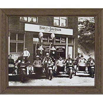 Harley Davidson Cops 20x24 Black & White Old Time Photography Motorcycles Vintage Bikes Framed Art Print Wall Décor Picture