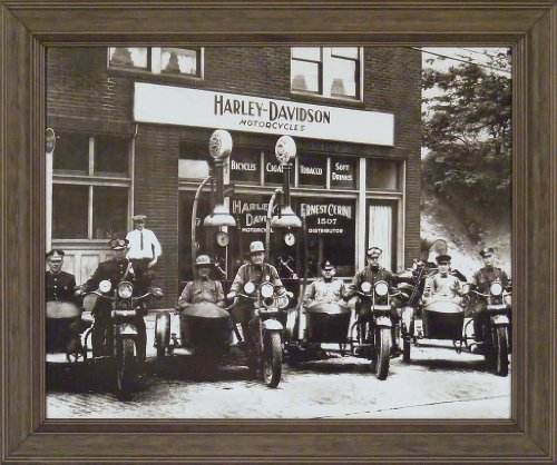 Harley Davidson Cops 20x24 Black & White Old Time Photography Motorcycles Vintage Bikes Framed Art Print Wall Décor Picture 0