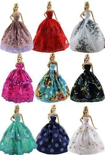 Lot 6 PCS Fashion Handmade Clothes Dress for Barbie Doll