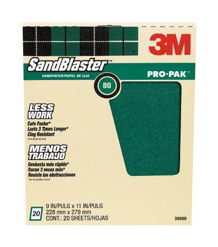 3M SandBlaster Pro-Pak Paint Stripping Sandpaper, 80-Grit, 9-Inch by 11-Inch, 20-Sheet