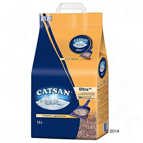 WANGADO 30 litri (2 pacchi da 15 litri) Lettiera agglomerante Catsan Ultra Lettiera agglomerante per gatti, ultra assorbente per una toilette sempre pulita e asciutta, con granuli di argilla per un assorbimento sicuro dell'umidità e degli odori, senza profumi.
