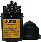 """Master 321MDSET29 29-Piece High-Speed Steel Mechanics Length Drill Bit Assortment, Black and Bronze Oxide Finish, Three-Flat Shank, 135-Degree Split Point, 1/16"""" to 1/2"""" Size in 1/64"""" Increments"""