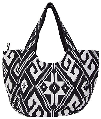 Carolina Sweethearts Woven Black and White Aztec Medium Fashion Tote Bag With Zipper Closure