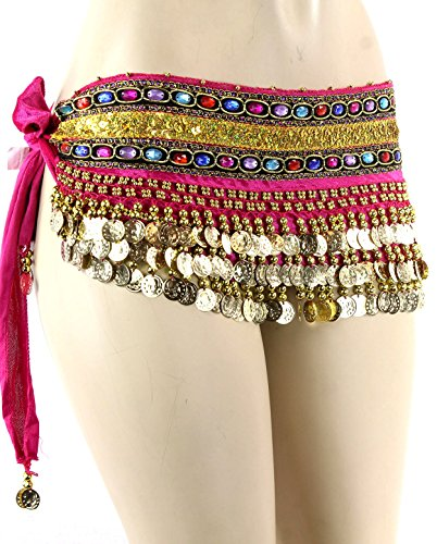 Hot Pink Gold Coins Velvet Rave EDC Belly Dance Skirt Hip Scarf Costume 193 coins