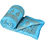 Sovam International Jaipuri Traditional Ethnic Double Cotton Quilt / Razai / Comforter - Sky Blue