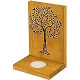 Indian Artisans Online Wooden Tealight Candle Holder (15 Cm X 10 Cm, Yellow)