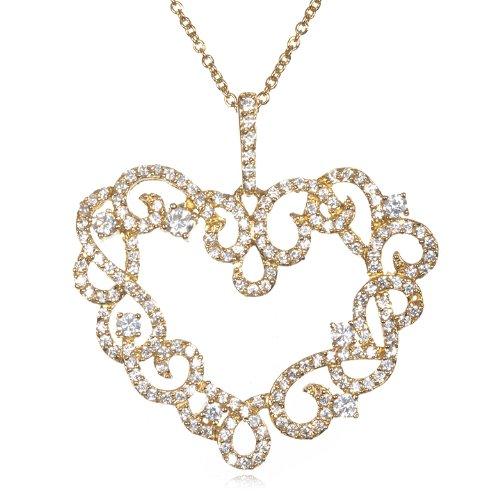 White CZ Lacy Design Heart Pendant-18