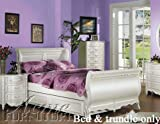 Full Size Sleigh Bed with Trundle White Finish