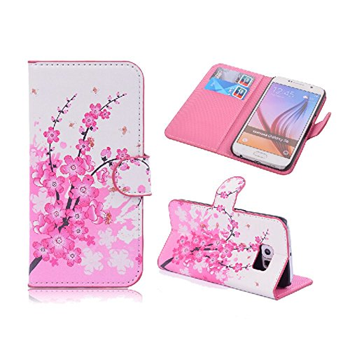 Splendid(TM), Samsung S6 Wallet Case Fancy Pink Cherry Blossom Flower Pattern Slim Flip Wallet Stand Pouch PU Leather Case With Credit Card Money Holder Slot Wallet Case Cover For Samsung Galaxy S6 (Cherry Blossom S6)