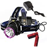 WindFire® 2000 Lumens CREE XM-L T6 U2 LED 3 Modes Design Outdoor Sport Headlamp 18650 Rechargeable Battery Head Light Torch Flashlight with Charger and 2 X WindFire 4000mah Rechargeable batteries For Outdoor Hiking, Riding, Camping, Climbing etc..
