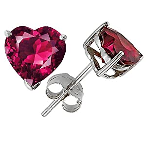 Click to buy 14K White Gold Plated 925 Sterling Silver Heart Created Ruby Earring Studs from Amazon!
