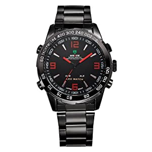 Mens Black Watch Metal Band LED Dual Time Analog Digital Display Red Markers WH-141