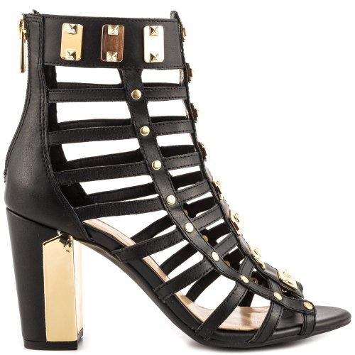 Jessica Simpson Women's Justinah Gladiator Sandal,Black Zip Leather,7 M US