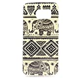 Vogue shop Galaxy S6 Edge Case, S6 tpu case,[Ultra Slim] [Perfect Fit] [Scratch Resistant] Fashion Color [Owl][Elephant][Hearts]Pattern Design Silicone TPU Skin Case Cover For Samsung Galaxy S6 Edge (Vogue Shop-Black and White Elephant)
