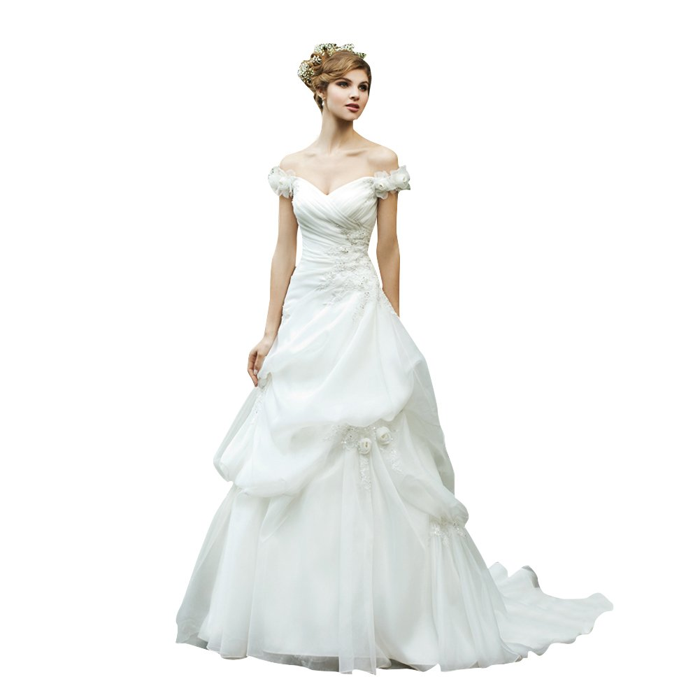 Capped Sleeves Princeless Organza over Satin Wedding Dress with Pick-ups and Appliques