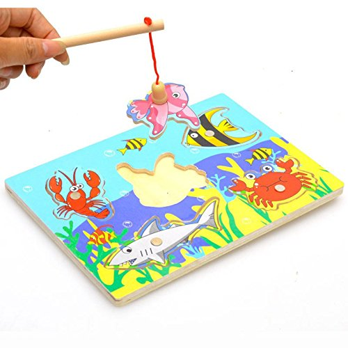 Merry Baby Wooden Magnetic Fishing Game & Jigsaw Puzzle Board 3D Jigsaw Puzzle Children Education Toy juguetes educativos (Expresso Tower compare prices)