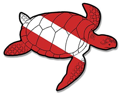 Sea Turtle Shaped Scuba Dive Flag Sticker (diving decal) (Scuba Decal compare prices)