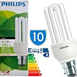 10 x Bayonet Cap 18 Watt Philips GENIE 18w = 60w Bulb B22 Light Bulbs Lamp Low Energy Saver Bulb Lamp Saving CFL Lamps Direct Incandescent Replacement Long Life 10,000 hours