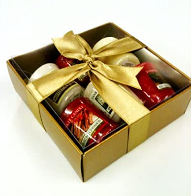 Yankee Candle Luxury Christmas 6 Sampler Pack - Gift Wrapped- In Gold Box Gold Tissue Gold Ribbon Includes Cherries On Snow by yankee candle/Bubblelush Divine Gifts