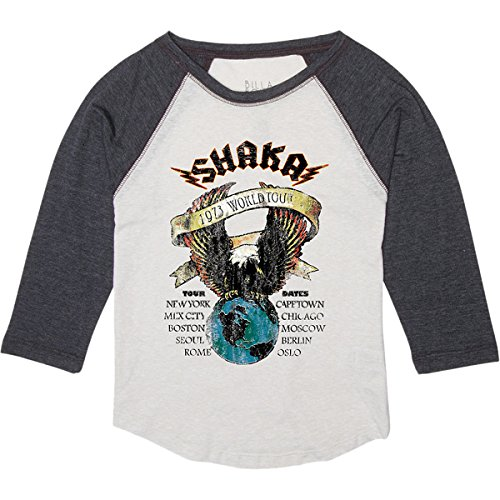 Billabong Girls' World Tourz Baseball T-Shirt Silver Fox Small back-402654