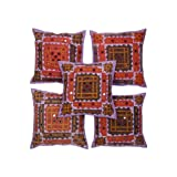 Rajrang Purple Cotton Applique Border With Mirror Patch Cushion Cover Set Of 5 Pcs #Ccs05762