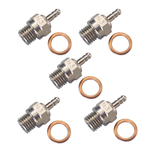 Hobbypower Spark Glow Plug No.3 N3 Hot 70117 for RC Nitro Engines Car Truck Traxxas(pack of 5 pcs) (Glow Plugs Rc compare prices)
