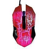 Mouse de juego LED HDE Ion Pro 3 de alto rendimiento óptico, con cable, hasta 3200 DPI, 5 botones programables, de diseño ergonómico, color naranja.