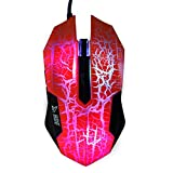 HDE Ion Pro 3 Lightning High Performance Optical Wired LED Gaming Mouse - Up To 3200 DPI, 5 Programmable Buttons, Ergonomic Design (Orange)
