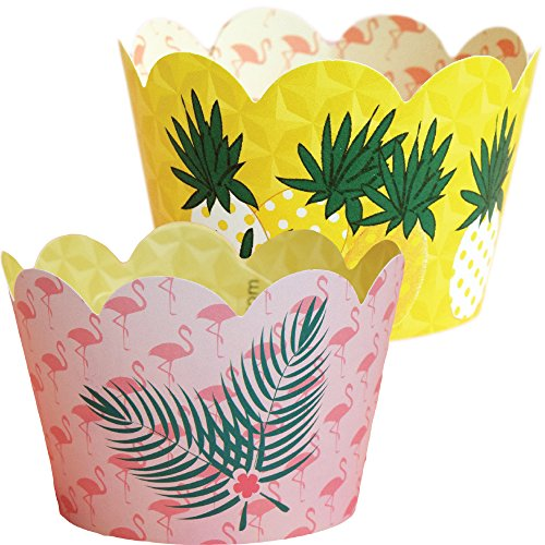 Luau Hawaiian Theme Flamingo Party Supplies, Pineapple Cupcake Decorations, Confetti Couture, 36 Wrappers