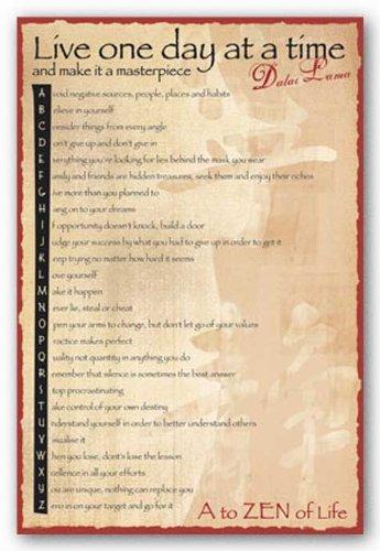 Dalai Lama Live One Day At A Time Art Poster Print - 24x36