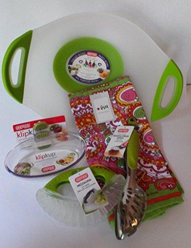 Dexas 5 Piece Entertaining, Salad, Serving With Utensil Bundle - Non- Skid Bowl, Mezzaluna Salad Chopper, Spoon & Strain Tongs, Clip Cup 8 Oz Serving, Quality Serving Towel