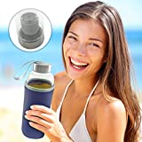 Hot or Cold Glass Tea Tumbler Bottle - Borosilicate Glass Tea Mug - Glass Water Bottle with Flavor Dispenser Cup - 550 ml With Insulated Sleeve - Green