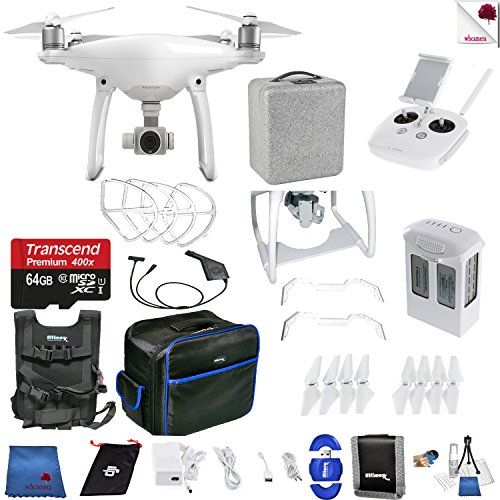 DJI Phantom 4 Ready Set Go Bundle Includes: DJI Phantom 4 Drone + DJI Battery + Carry Vest + 64 GB Memory Card + Controller + Foam Case + More