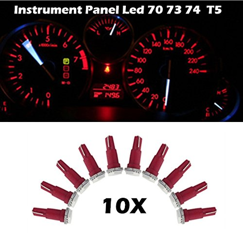 Partsam 10X T5 17 37 73 74 79 Wedge Instrument Panel Dashboard Led Light Bulb Lamp Red For 2004 2006 2007 2008 2009 2010 2011 Chevrolet Colorado