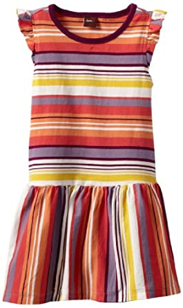 Tea Collection Little Girls' Sunset Stripe Flutter Dress, Milk, 4