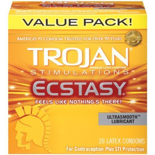 TROJAN Ultra Ribbed ECSTASY Lubricated Condoms (26 Pieces, Pack of 2)