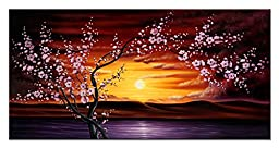 Wieco Art - Plum Tree Blossom Flowers Modern Framed Giclee Canvas Prints Floral Landscape Pictures Paintings Artwork on Canvas Wall Art Ready to Hang for Living Room Bedroom Home Office Decorations