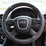 Black Leather Look Universal Car/Van Steering Wheel Cover